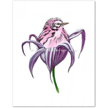 Pink Bird in Purple Lily Flower Watercolor Art Print