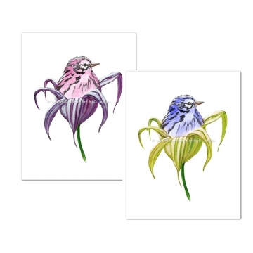 Pink and Blue Birds in Lily Flowers Watercolor Art Prints (Set of 2)