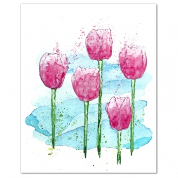 Pink Tulips Modern Watercolor Art Print
