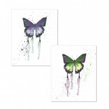 Butterfly Watercolor Art Prints, Purple, Green (Set of 2)