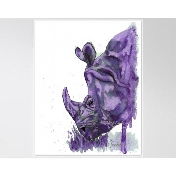 Purple Rhino Watercolor Art Print, 11 x 14 Unframed