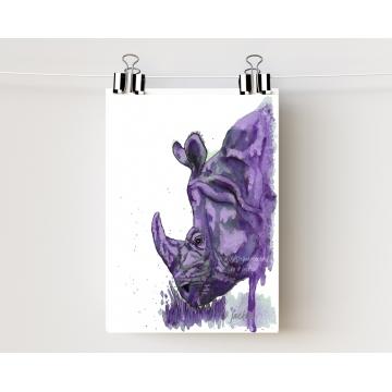 Purple Rhino Watercolor Art Print, Unframed