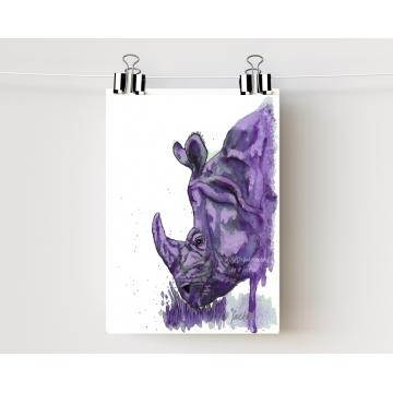 Purple Rhino Watercolor Art Print, Unframed