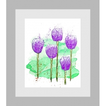 Purple Tulips Modern Floral Watercolor Art Print