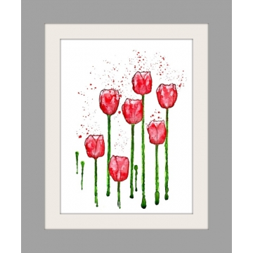 Red Tulips Minimalist Watercolor Art Print