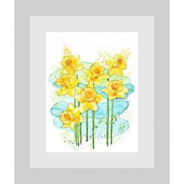 Daffodils Spring Flowers Modern Watercolor Art Print