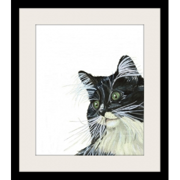 Tuxedo Cat with Green Eyes Watercolor Art Print