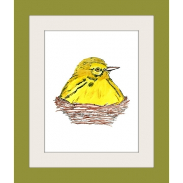 Yellow Bird in Nest Watercolor Art Print