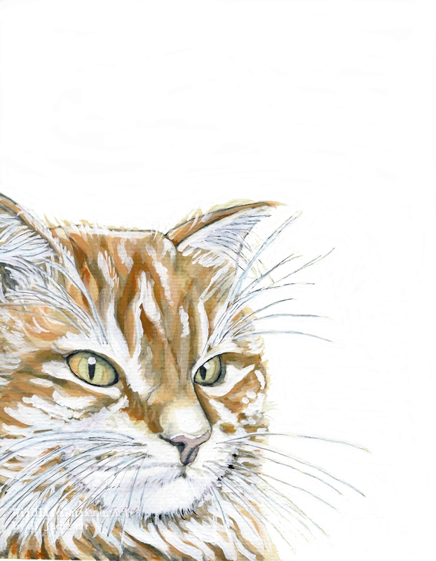 gift for cat lovers Original watercolor painting of a white cat cat portrait